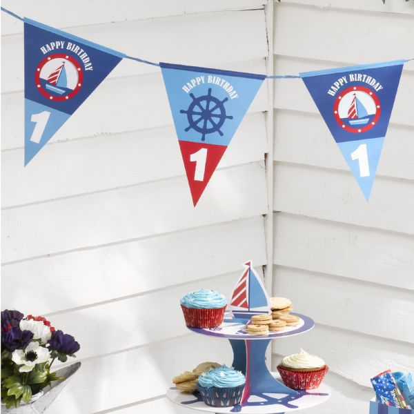 Ahoy There 1st Birthday Bunting